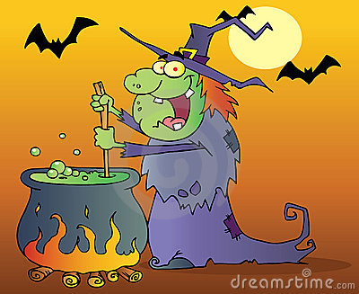 Witch preparing a potion in halloween night