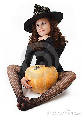 Witch and a pumpkin.