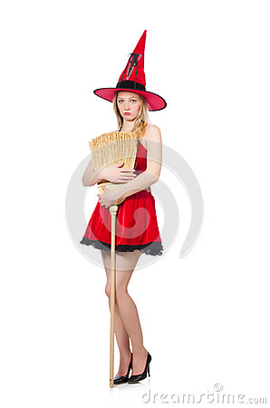 Witch in red dress