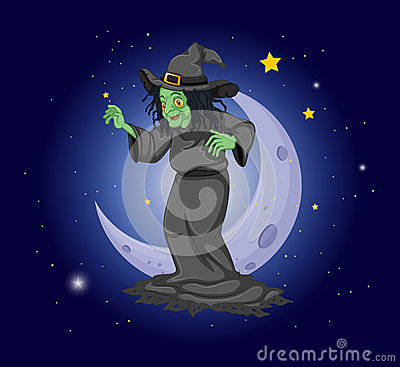 A witch at the sky near the moon