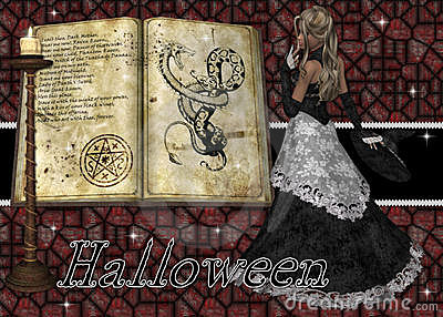 Witch and Spell Book Halloween Background