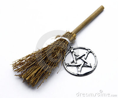 Royalty Free Stock Images: Witchcraft Broom and Pentacle