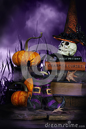 Free Witches Boots And Witches Hat Stock Photo - 44562960
