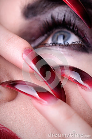 Witches model with airbrush nails Stock Photo