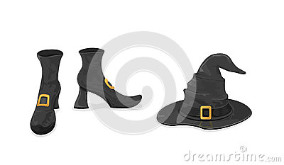 Witches shoes and hat for Halloween Vector Illustration