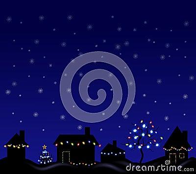 świąteczne lampki wieczorem
