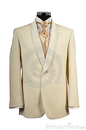 Withe suit and gold tie for ceremony