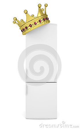 Witte ijskast en gouden kroon