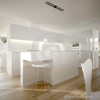 Moderne minimalistische keuken in wit stock afbeelding ...