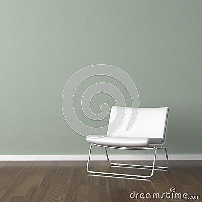... met witte moderne stoel op bleek - groene muur met exemplaarruimte
