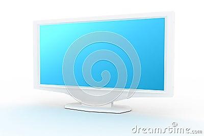 Witte monitor met blauwe schaduw