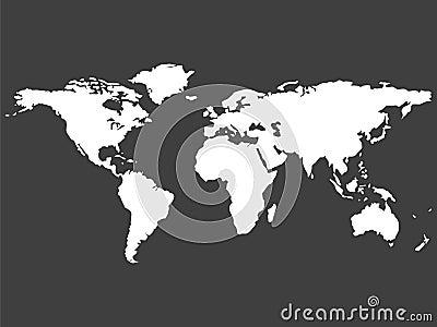 Witte wereldkaart die op grijze achtergrond wordt geïsoleerdd