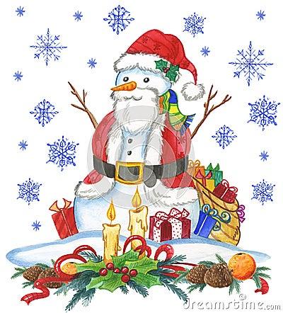 Święty Mikołaj śniegu mężczyzna