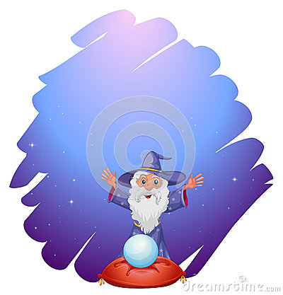 A wizard with a crystal ball above a pillow
