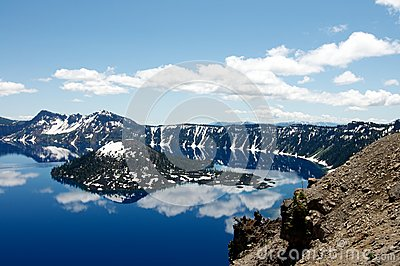 Wizard Island of Crater Lake during the summer