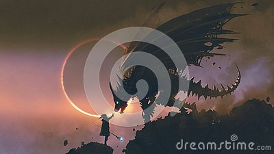 The wizard reaching hand out to his dragon Cartoon Illustration