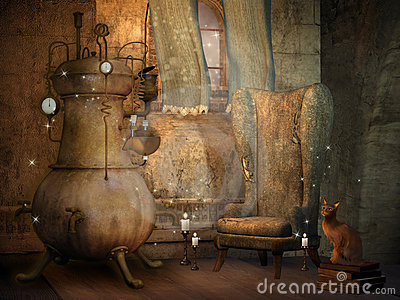Wizard s room with a cat