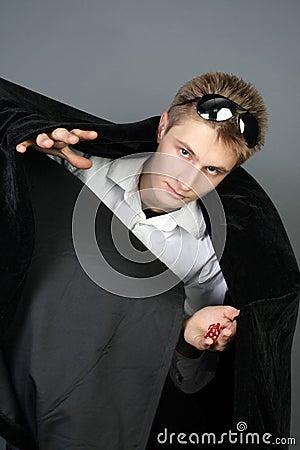 Wizard showing his magic tricks