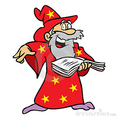 Wizard using spell book