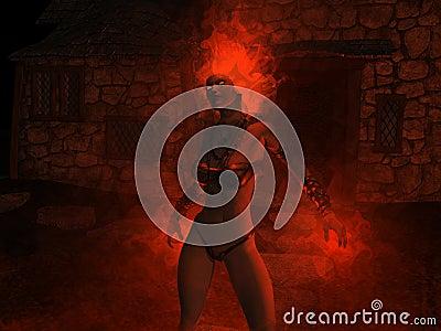 Wizard woman castin fire spells