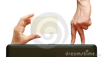 Wizytówka palce idą ręka