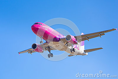 Wizz air aircraft landing on the airport Editorial Stock Image