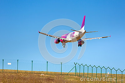 Wizz air aircraft landing on the airport Editorial Image