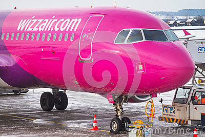 Wizz air plane on Lech Walesa Airport in Gdansk Editorial Stock Photo