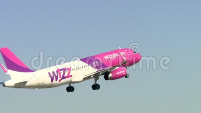 Airbus A320 wizz air takeoff stock footage