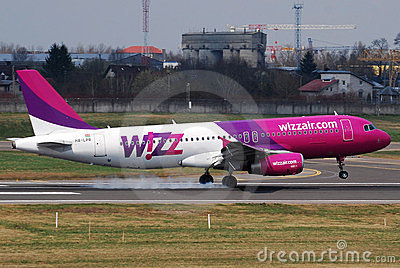 Wizzair landing Editorial Stock Photo