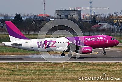 Wizzair landing Editorial Stock Photo