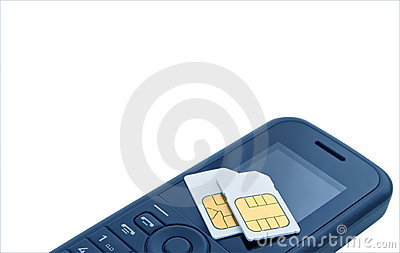 �wo sim cards on mobile telephone.