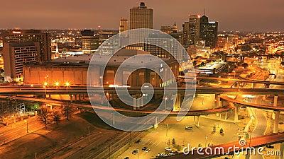 Wochentag-Nacht-Timelapse von Memphis, Tennessee, Vereinigte Staaten 4K stock video