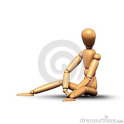 Woden Puppet Sitting Side Stock Illustration Image 49866140