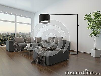 Wohnzimmer Mit Grauer Couch Und Parkettboden Stock Abbildung ...