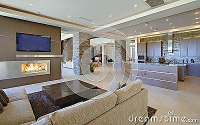 wohnzimmer mit offener k che lizenzfreie stockbilder bild 33906379. Black Bedroom Furniture Sets. Home Design Ideas