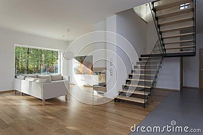 treppe im wohnzimmer in der zeitgenössischen villa stockfoto, Hause ideen