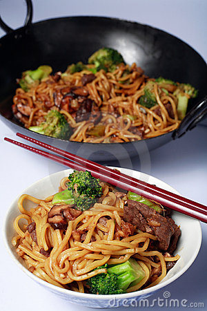Wok chino del mein del perro chino de la carne de vaca