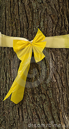 Wokoło faborku wiążący drzewny kolor żółty