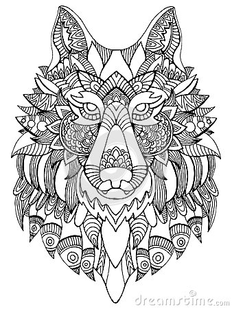 Wolf Coloring Book For Adults Vector Illustration Stock