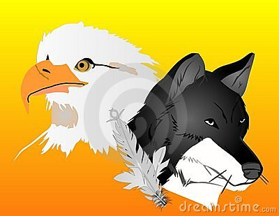 Wolf and Eagle spirits illustration