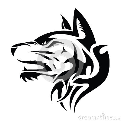 Wolf head - tribal tattoo