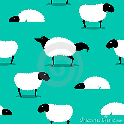Free Wolf In Sheeps Clothing Seamless Background Idiom Stock Photo - 22280430