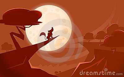 Wolf and moon landscape