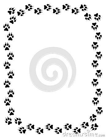 Wolf Paw Print Border