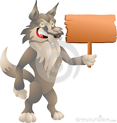 Wolf with sign