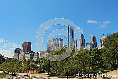 Wolkenkrabbers in Chicago van de binnenstad, Illinois