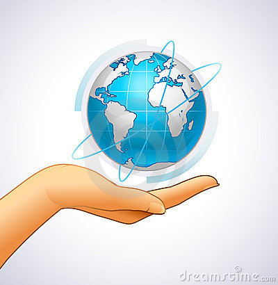 Woman's hand is holding small earth Vector Illustration