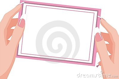 Woman's hands holding card