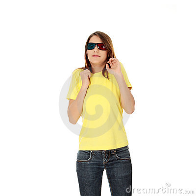 Woman in 3d cinema glasses